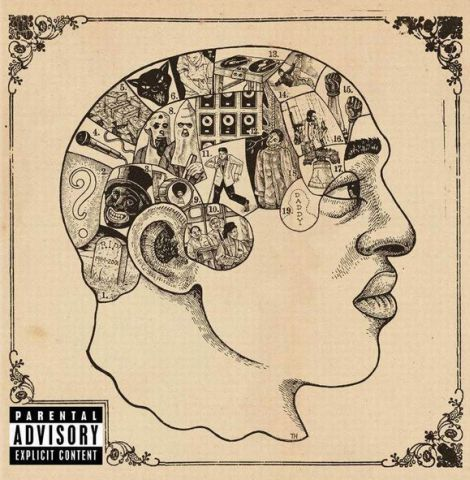 Hip hop album cover for the Root's album Phrenology. The background is beige and there is a vintage diagram of a man looking to the profile ...