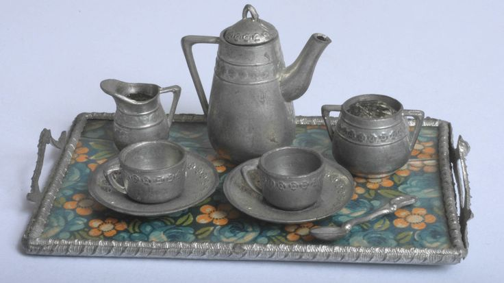 STUNNING VINTAGE MADE IN GERMANY DOLLS HOUSE PEWTER TEA SET ON FLORAL TRAY | eBay