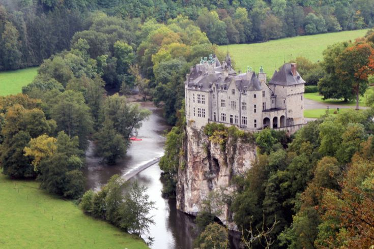 Walzin Castle, Namur, Belgium. I just want to drive up in a speed boat and climb up the side of the castle, and then sneak in through a window. Secret agent style.
