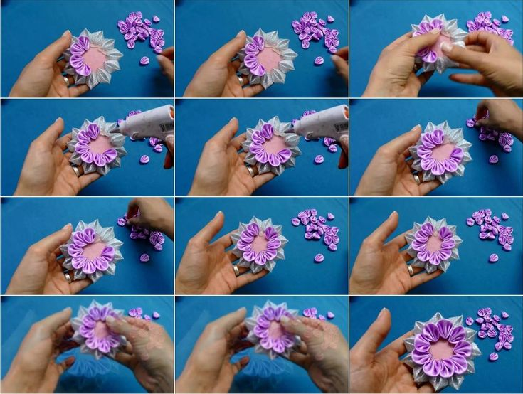 103 best kanzashi and fabric flowers images on pinterest fabric how to make kanzashi ribbon flower mightylinksfo Images