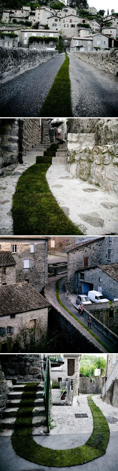 Installation in the town of Jaujac, France by the artist Gaelle Villedary. I love paths that are meant to be followed like this.