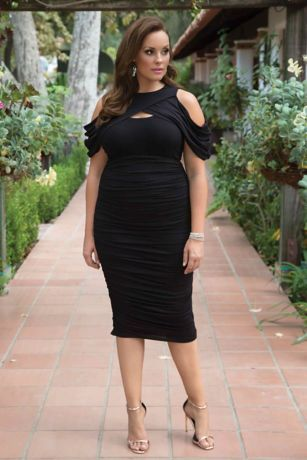 Bianca Ruched Plus Size Dress Style 15161802, Black, 0X