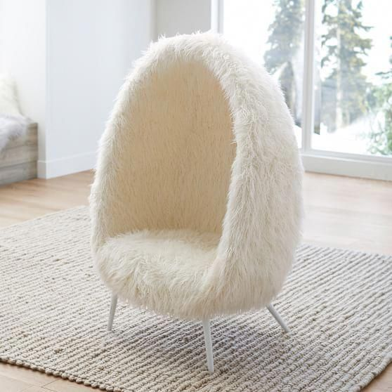 Ivory Furlicious Faux Fur Cave Chair Cave Chair Cool Chairs Chairs Loft