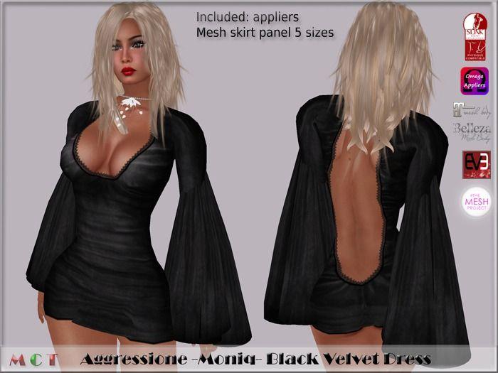 *Aggressione* -Moniq- Black Velvet Dress appliers…