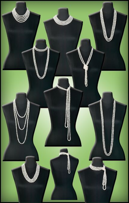 The many ways a Gatsby girl can wear her pearls. Not a tute - just an interesting picture. #Beading #Jewelry #Tutorials