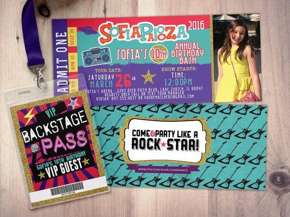 Rock Star-Concert ticket birthday invitation girl by LyonsPrints