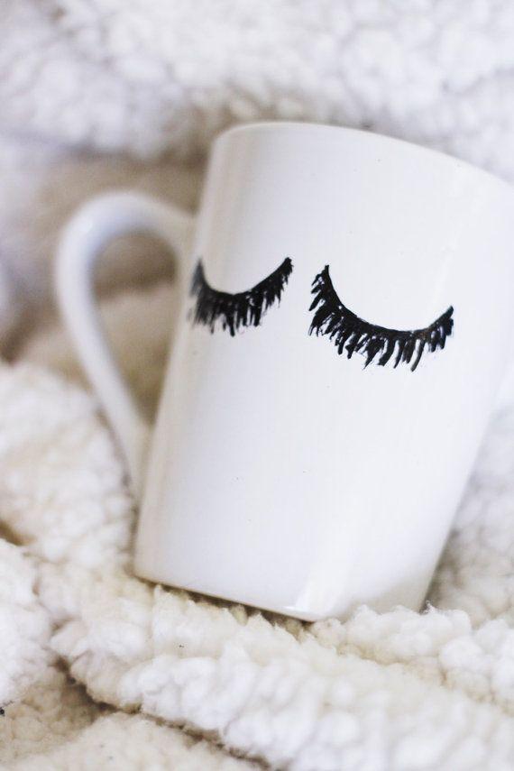 eyelashes mug / lashes / fashion mug / sassy by ivoryandcompany