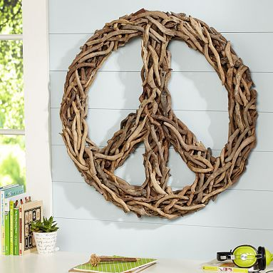 driftwood: Driftwood Peace, Pottery Barns Teen, Driftwood Art, Peace Signs, Back Porches, Front Doors Wreaths, Drift Wood, Front Porches, Hippie Houses