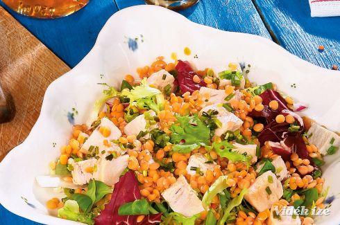 vöröslencse saláta