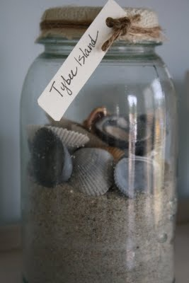 vacation jar~~I would have made this last week if someone hadn't stolen my bag of sand and seashells!..grrrrrrr....