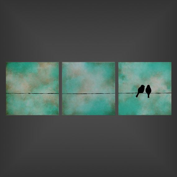 Love You More  12x36x15 triptych original by jodileighoriginals, $199.00