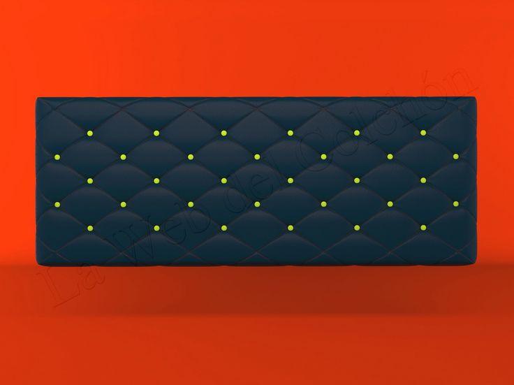 Cabecero Alethea Negro con botones Amarillos sobre fondo Rojo