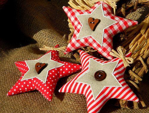 Staročeské Vánoce - hvězdičky Weihnachts-Stern Jute und Stoff tree ornament star with burlap