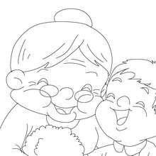 Dibujo para colorear abuela y sus nietos - Dibujos para Colorear y Pintar - Dibujos para colorear FIESTAS - Dibujos para colorear DIA DE LA ABUELA