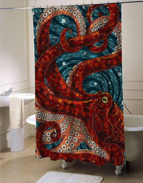 mosaic attack octopus shower curtain