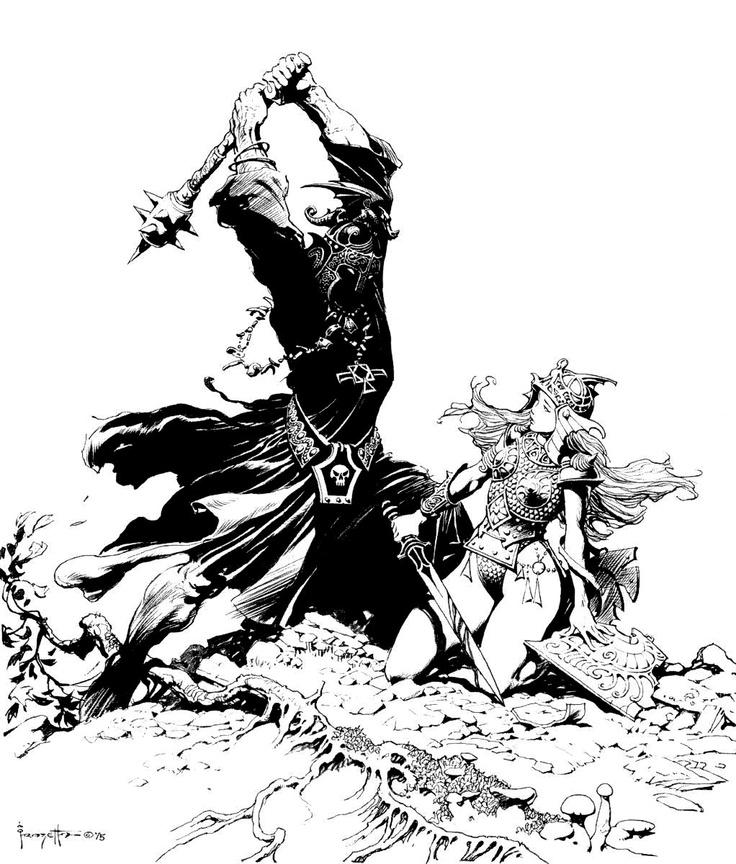 El Rey Brujo de Angmar y Eowyn de Rohan. #frazzetta