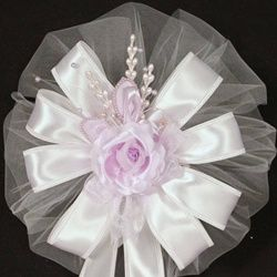 Lavender Rose Pearl Spray White Wedding Pew Bows