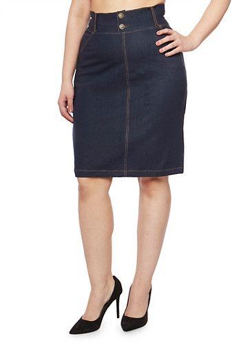 Plus Size Dark Denim Pencil Skirt,DARK WASH