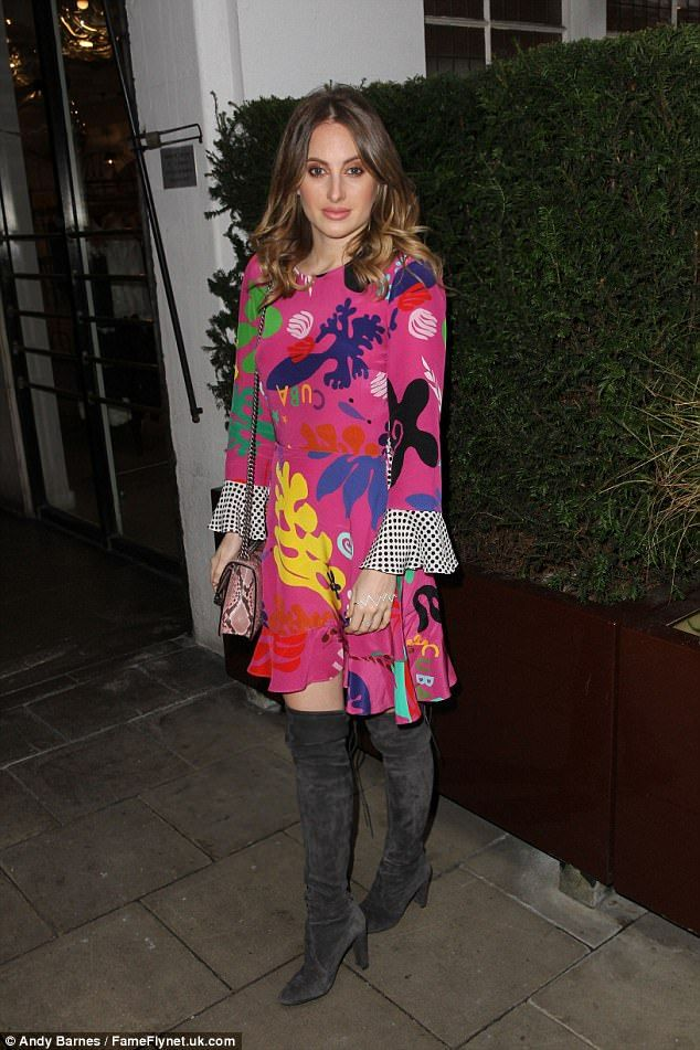 Groovy baby: Made In Chelsea star Rosie Fortescue channeled the Sixties in a psychedelic minidress on Wednesday night as she turned out for the Twisted Halo event in London