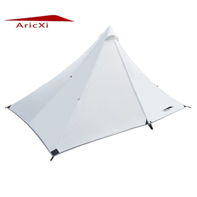 Aricxi New Brand 4 Season Double Door Camping Tent Ultralight 1 2 Person Outdoor 210t Pu Coating Rodless Pyramid Large Tent Review Large Tent Tent Tent Reviews
