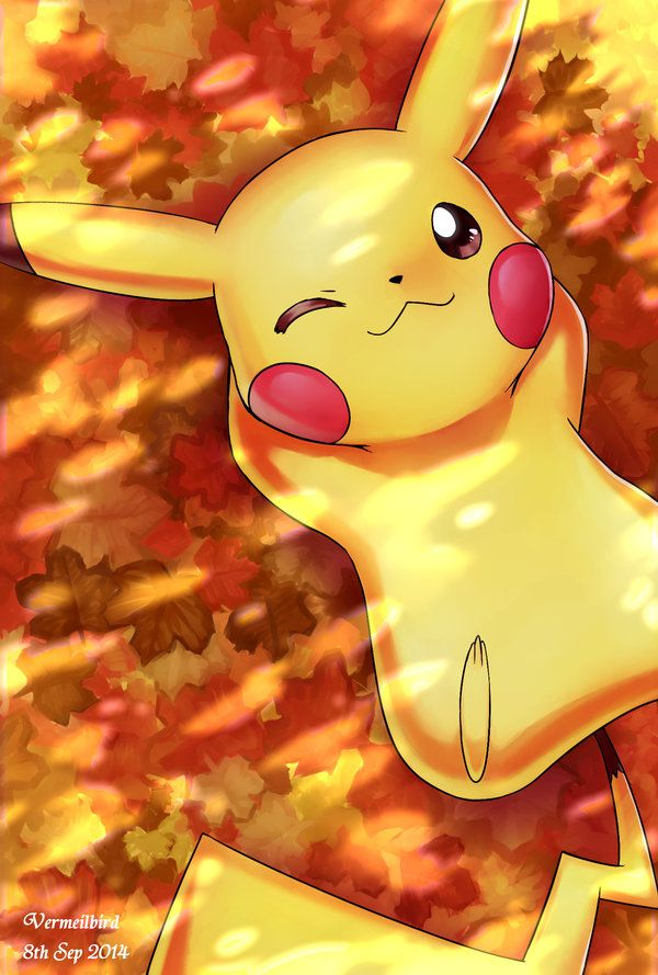 Autumn and Pikachu... Two if my favorite things on earth! Picture perfect!! :) and not to say my favorite colors as well!!