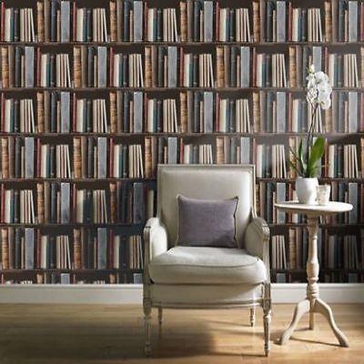 Multi-coloured - POB-33-01-6 - Library Bookcase Books Shelves - Ideco Wallpaper