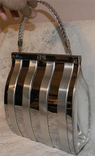 Vintage Couture Chrome Purse 1960s