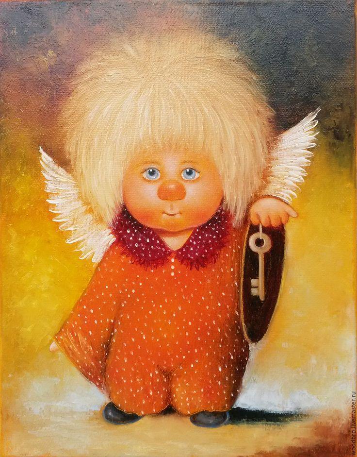 Купить Ключик от твоего сердца. Картина маслом. - ангел, ангелочек, ключик от твоего сердца, ангелочки