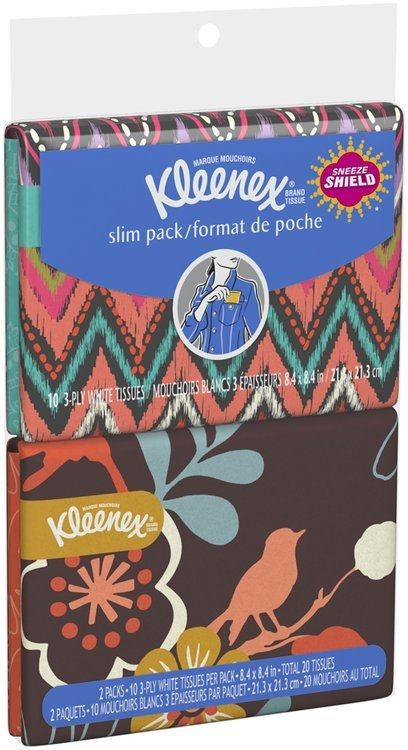 Browse unbiased reviews and compare prices for Kleenex® Brand Tissue 3-Ply Everyday Tissues 2-10 ct. Wallet Packs. I keep these things everywhere. In my purse, gym bag, car, kids backpacks, diaper bag. Everywhere. They don't get smushed up and crunched up like the old style tissue packs. You don't have the problem of trying to pull out one and ending up with 8 and since they're flatter it's a lot easier to fit them into the slim pockets most bags have nowadays.