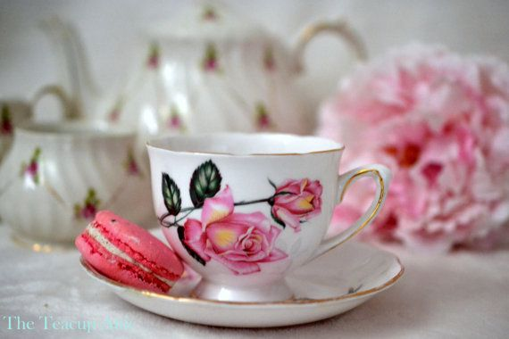 Royal Vale Teacup and Saucer With Pink Roses by TheTeacupAttic