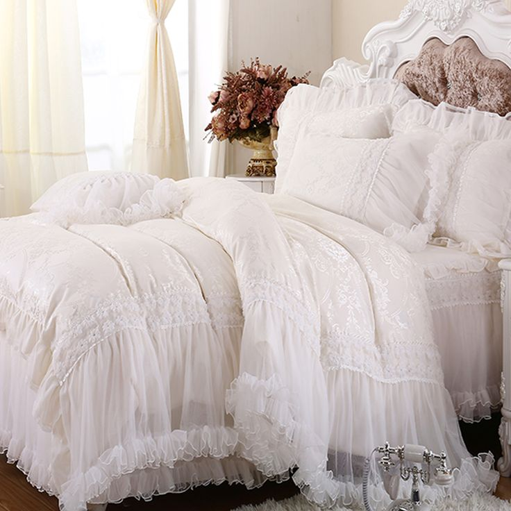 Best Luxury White Lace Falbala Ruffle Cake Bedding Set Queen 640 x 480