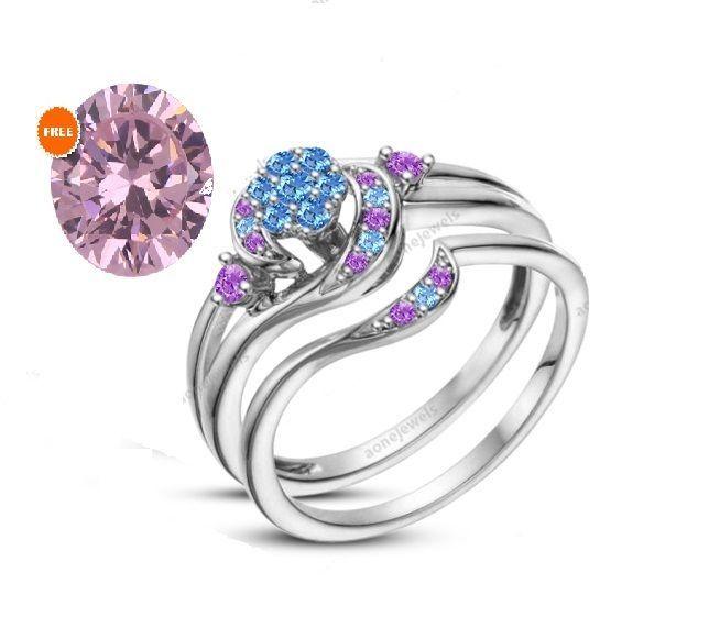 075 CT 925 Silver 14k White Plated Snowflake Disney Round Bridal Ring Free Gift