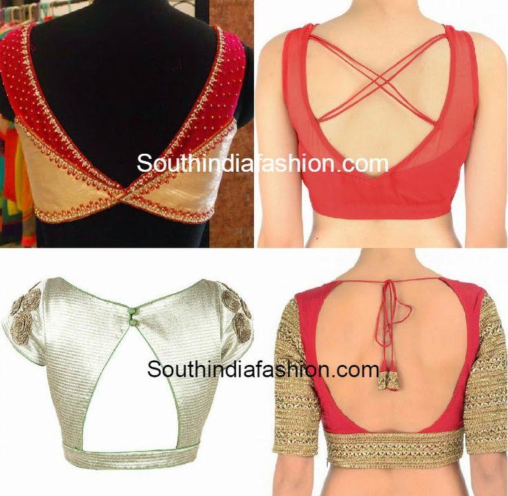 saree blouse back neck patterns 2015