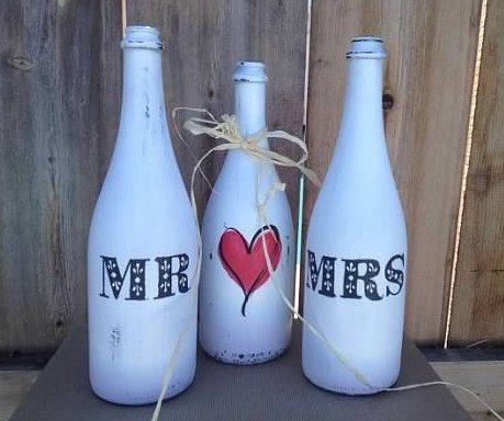 Mr and Mrs Painted Wedding Bottles with HeartSet by YellowBeeMine, $35.00