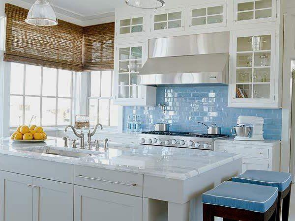 Awesome Kitchen Design Ideas White Cabinets Glass Doors Blue Subway Tile Backsplash