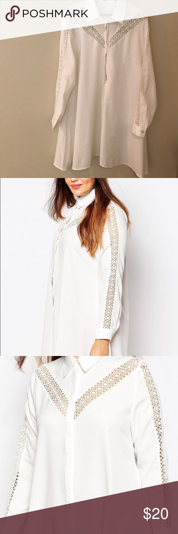 PLUS SIZE: ASOS Shirt Dress with Lace Insets Plus Size long sleeve shirt dress. Swing body, is flattering on all body shapes. Lace inserts on sleeves and front yoke. Full hidden button front placket. This has never been worn, but does not include tags. ASOS Curve Dresses Long Sleeve
