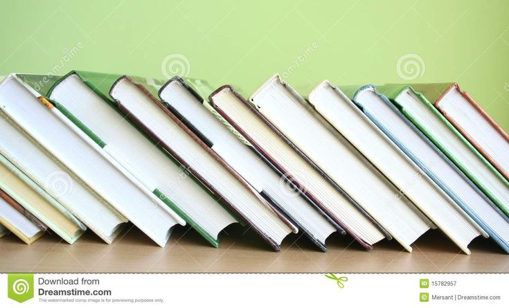 Some books with green background