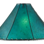 Rawhide lamp shade (in 3 sizes & 5 colors: amber, buckskin, brown, turquoise, red & orange). By Crow's Nest Trading Co.