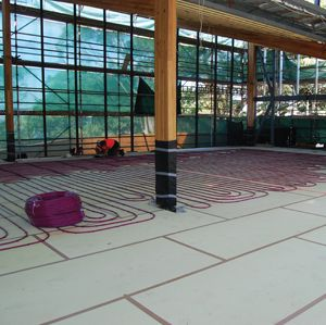 Foamular XPS insulation floor heating systems. Foamular extruded polystyrene insulation available from Austech External Building Products is recommended for floor heating systems to help reduce heat loss and lower operating costs.