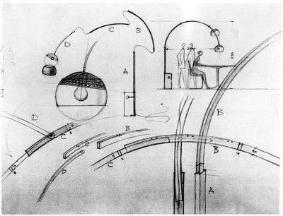 El esquema del diseño de la lámpara Arco.