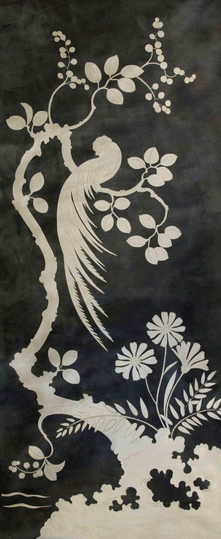 chinon | Fromental chinoiserie wallpaper black + white #drdwallpaper