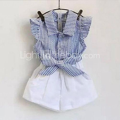Girl Casual/Daily Striped Sets,Cotton Summer Sleeveless Clothing Set 2017 - ₩15012