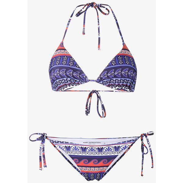 Mary Katrantzou Printed Triangle Bikini (£220) ❤ liked on Polyvore featuring swimwear, bikinis, multi color bikini, triangle bikinis, colorful bikini, colorful swimwear and triangle swim wear