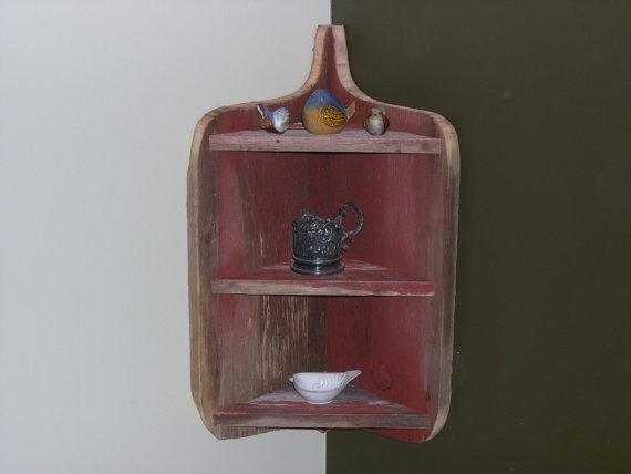 rustic baby nursery idea. cool corner shelf made from vintage barnwood! from burntrock shop on etsy