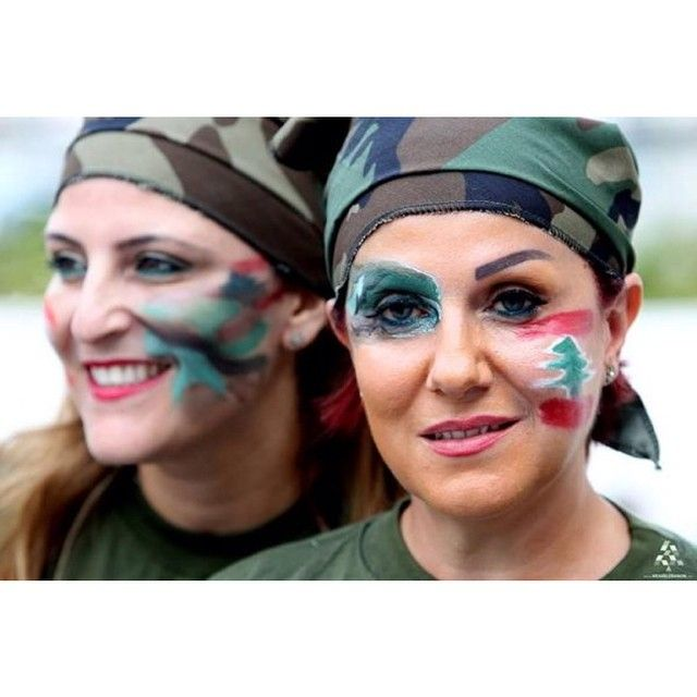 LEBANON, LEBANESE WOMEN DRESSED IN MILITARY COSTUMES IN SUPPORT OF THE LEBANESE ARMY..BRAVO!!!!!!!!!!!!