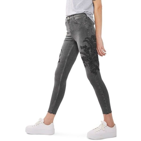 Women's Topshop Jamie Sketch Embroidered Skinny Jeans ($110) ❤ liked on Polyvore featuring jeans, washed black, high rise skinny jeans, floral embroidered jeans, high waisted denim skinny jeans, denim skinny jeans and high-waisted jeans