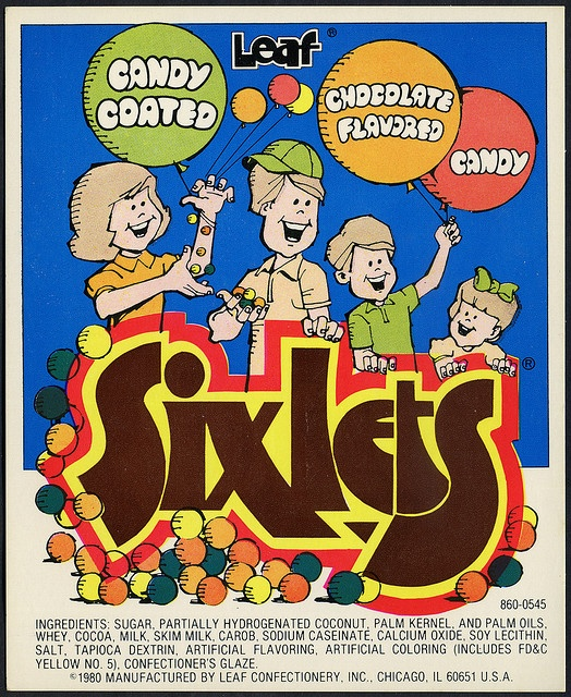 1980S Candy | Candy Machine Vending Insert Card - Leaf Sixlets - 1980