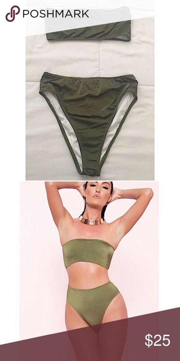 Olive Bandeau High Cut Bikini Size Medium. Never been worn. Ordered and don't like it. Swim Bikinis
