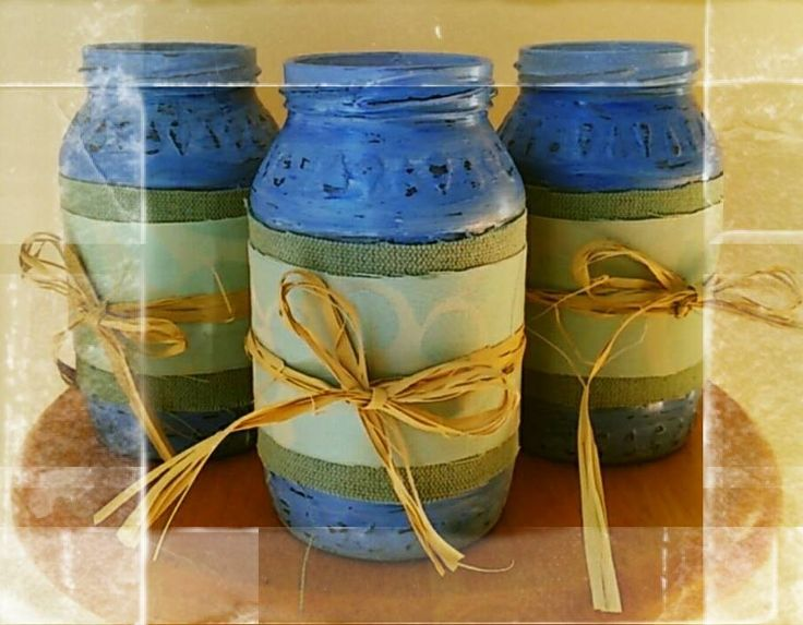 Sweet blue Painted Recycled Jars