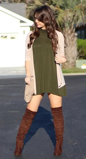 ♡ 2016 Winter Fashion - Green shift dress with a beige cardigan and brown thigh high boots - I just featured this look on my Youtube channel. Come check it out for my full review. Plus, you can enter to win some really nice thigh high boots, too. www.youtube.com/watch?v=50twSzWST0k
